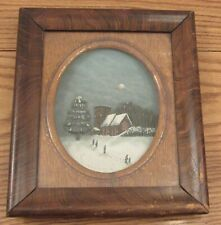 Antique outsider art 3D shadow box carved wood night scene church snow 10.5x12""