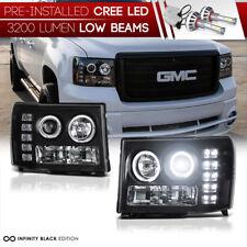 [LED LOW BEAM] 2007-2013 GMC Sierra 1500 3500HD Angel Eye Projector Headlights