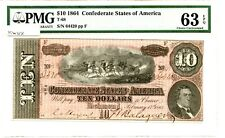 1864   $10     Confederate Currency T-68   PMG 63 EPQ