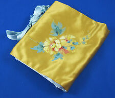 Ann Seton Satin Lingerie Hosiery Bag Pouch Vintage Gold Blue Hand Painted Flower