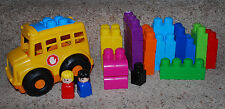 Mega Bloks School Bus & Block Brick People Set Toddler Building Toys HUGE LOT