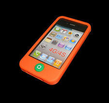 NEW ORANGE SILICONE RUBBER GEL APPLE IPHONE 4 4S CASE BUY ONE GET ONE FREE