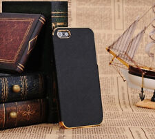 Black Deluxe Gold Luxury Leather Chrome Bling Case Skin Cover for iPhone 4 4G 4S