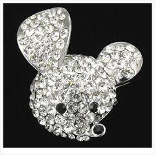 Cute Kitten Mickey Mouse Head Brooch Pin Crystal Rhinestone Clear 3D Jewelry New