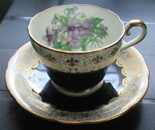 Vintage AYNSLEY Bone China England Black/White with Gold Royal Lily Cup & Saucer