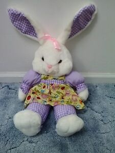 STUFFED WHITE BUNNY WITH A LOVELY YELLOW PATTERNED DRESS