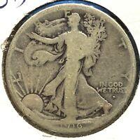 1916-D 50C Walking Liberty Half Dollar, SEMI-KEY DATE! (59369)
