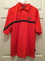 Virginia UVA Cavaliers Football Team Issued Nike Orange Polo Shirt Small