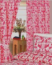 168cmx183cm Rideaux Damas Rose Blanc Floral Feuilles Fuchsia Cerise Avec