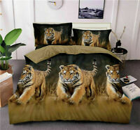 3D Duvet Cover Tiger Print Effect 4 Pcs Bedding Quilt Cover Set + 2 Pillow Case