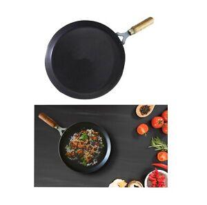 Iron Tawa Flat Dosa Tava Crepe Pancake Pan Roti Chapati Wooden Handle Heavy Duty