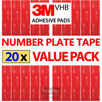 20 x NUMBER PLATE STICKY PADS 3M Double Sided Number Plate Tape Fixings