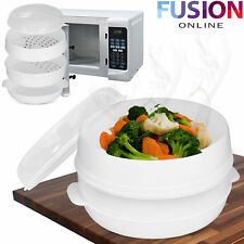 Microwave Steamer Vegetable Fish Pasta Rice Steamer Pot Healthy Cooking 2 Tier