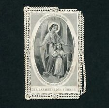 GUARDIAN ANGEL w/child giving alms CHARITY. Old litho Lace HOLY CARD 1900 FRANCE