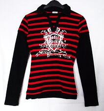 Pimkie-Langarmshirt schwarz-rot-gestreift mit Kragen & silbernem Print Rock