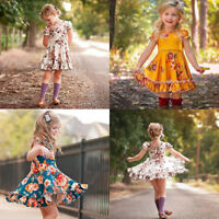 AU Christmas Toddler Kids Baby Girl Backless Flower Princess Party Dress Clothes