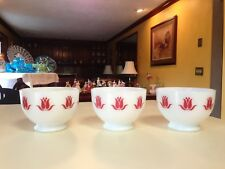Fire King Sealtest Cottage Cheese Red Tulip Bowls...Set of Three...1950's