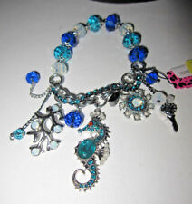 BETSEY JOHNSON ICONIC BLUE SEA SEA HORSE AND BLING STRETCH BRACELET