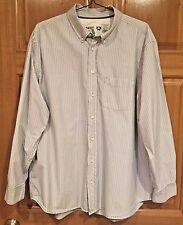 Men's Old Navy XXL Button Front Long Sleeve Blue & White Striped Shirt
