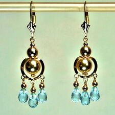 14k solid yell/gold 6.5tcw teardrop natural Blue Topaz earrings leverback 3 gram