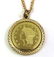 VINTAGE 1776 BICENTENNIAL MEDALLION PENDANT NECKLACE GOLD TONE METAL CHAIN