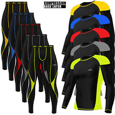 Mens Compression Tights+Top Set Armour Base Layer Gym Fitness Under Full Suit