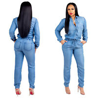 Women long sleeves casual fashion thin denim club party vacation long jumpsuit