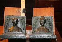 Antique Art Nouveau DANTE and BEATRICE Copper Clad Bookends