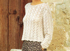 Knitting PATTERN -Ladies Double Knitting full lacey Jumper- fits 34-40 chest