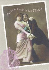 Ansichtskarte: Nostalgie: Tanze mit mir in den Morgen ... verliebtes Tanzpaar