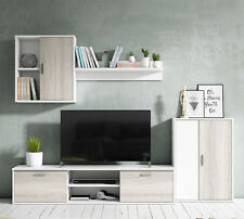 Mueble salon comedor modulo bajo modulo colgante y armario color blanco y shamal