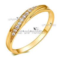 9K GOLD FILLED LADIES SOLID WEDDING ETERNITY DRESS DIAMOND TWIST BAND RING GIFT
