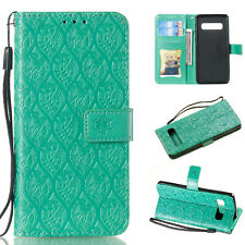For Samsung Galaxy S6 S7 edge S8 S9 S10+ Embossed Leather Case Card Folio Cover