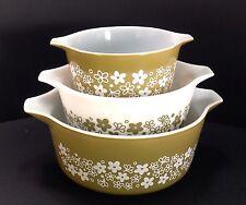 Vintage Pyrex Crazy Daisy Casserole Dish Set of 3 473 474 475 ~Gorgeous~