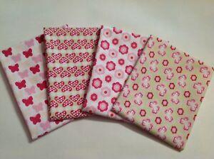Fabric Fat Quarter Bundle Flowers Butterflies Toadstools Pink Girls