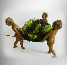 Vintage French lamp with cherubs and grapes art glass shade