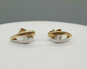 9k 9ct yellow white gold diamond stud earrings real diamond eye design studs
