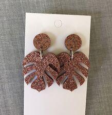 Monstera Leaf Dangle Earrings, Acrylic Bronze Glitter, Surgical Steel Stud