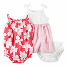 Carters 6 Months Baby Girl Tropical Flower Romper & Pink White Dot Dress Set NWT
