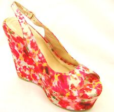 Cerise Pink floral High Wedge Heel Peep Toe Platform Shoes 5 & 6 Wedding Holiday