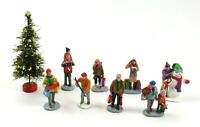 Lot of Lemax Christmas Village Miniatures & Tree - Shopping, Skiing, Snowman etc