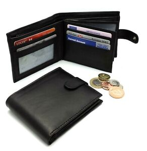 MENS GENUINE REAL SOFT LEATHER WALLET With LARGE Zip NOTE Pocket / Pouch Design