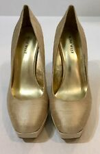 NEW Sz. 9 NINE WEST 'Hope Float' Platform Pump Shoes in Taupe Silk Rounded Toe