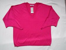 BNWT Hot pink cold/open shoulder v-neck unusual 3/4 sleeved summer jumper UK 20