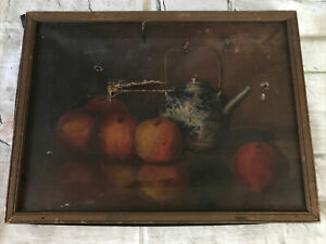 FAB!19th.c Old Master Oil Painting on Canvas Fruits Still Life For RESTORATION!