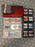 Nintendo DS Lite Crimson Red/Black Bundle With 16 Games With Charger
