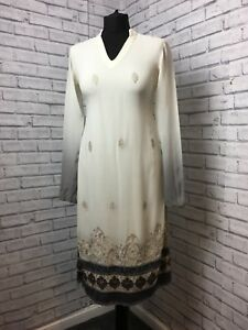 White Gray Chiffon Long Top Tread Ethnic Embellished Womens Light Size UK 8