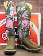 Womens Justin L2116 Brown / Pink Camo Snakeproof True Timber Cowboy Boots 8.5 B
