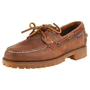 New Sebago Ranger Men's Tumbled Leather Brown 8.5 Wide 2E Lug Sole Moc Boat Shoe