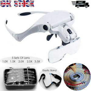 Magnifying Glass Headset LED Light Head Headband Magnifier 5 Lens With Box UK